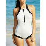 Alluring Hit Color Criss Cross Backless Zippered Women's Swimwear